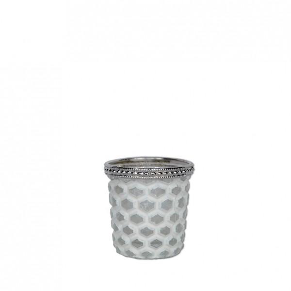 Vase Kristall mit Silberrand