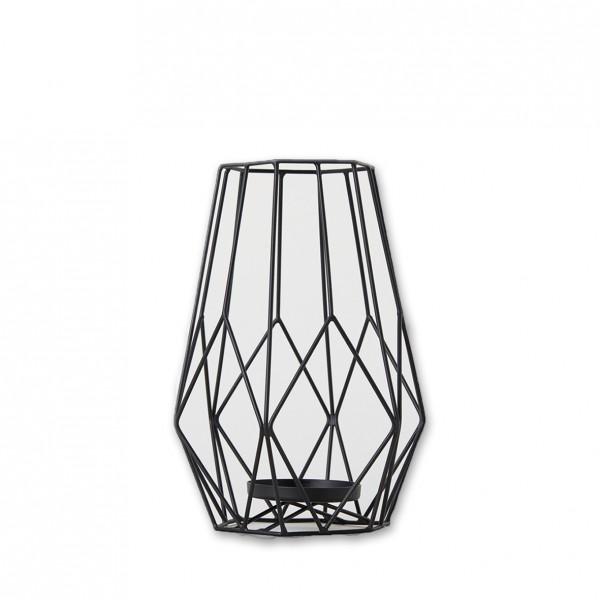Windlicht geometrisch schwarz