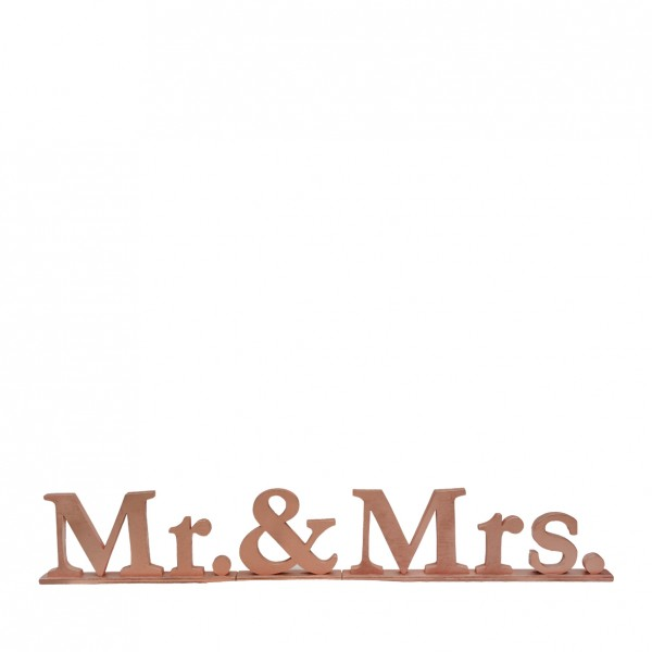 "Schriftzug ""Mr. & Mrs."", Holz kupfer"