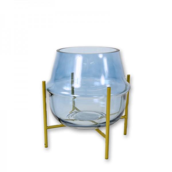 Vase Rille dusty blue mit Ständer