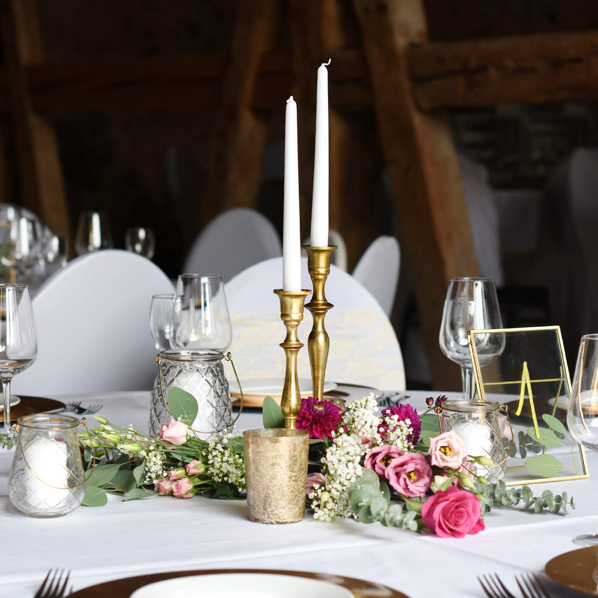 Kerzenständer 1-arm gold [mieten]