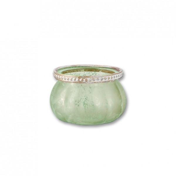 Vase Kristall flach grün mit Goldrand