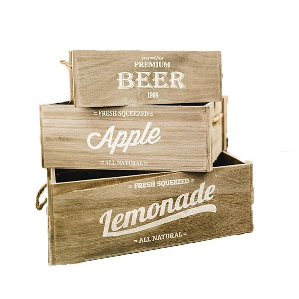 "Kisten Trio natur ""Lemonade, Beer, Apple"""