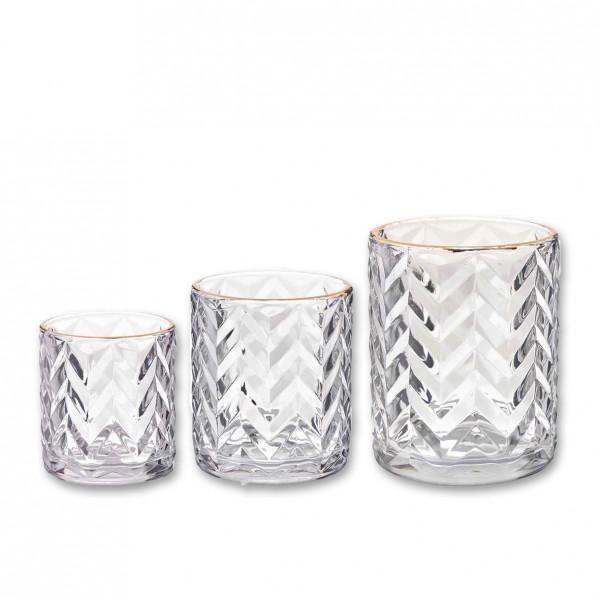 Vase Kristall mit Goldrand