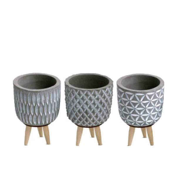 Vase Beton Ornamente (3-fach sortiert)