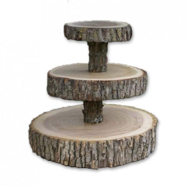 Etagere 3-Stöckig Baumscheiben