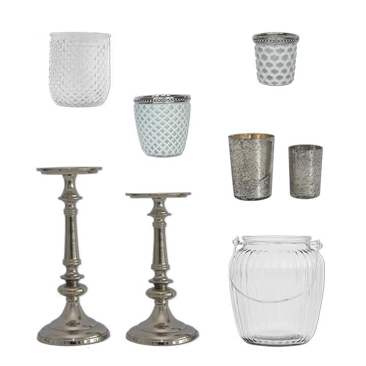 Deko Set Kerzenständer silber