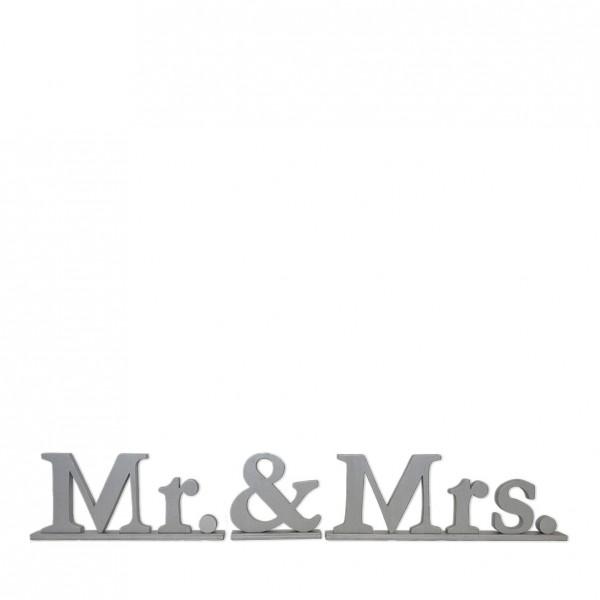 """Schriftzug """"Mr. & Mrs."""", Holz silber"""