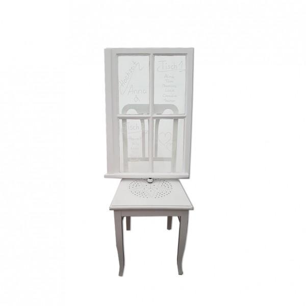 Sitzplan Fenster mit Stuhl Vintage weiss