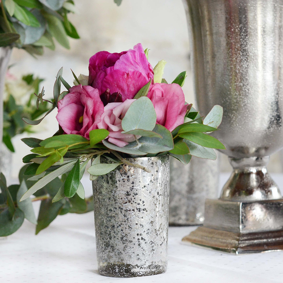 Vase marmoriert silber