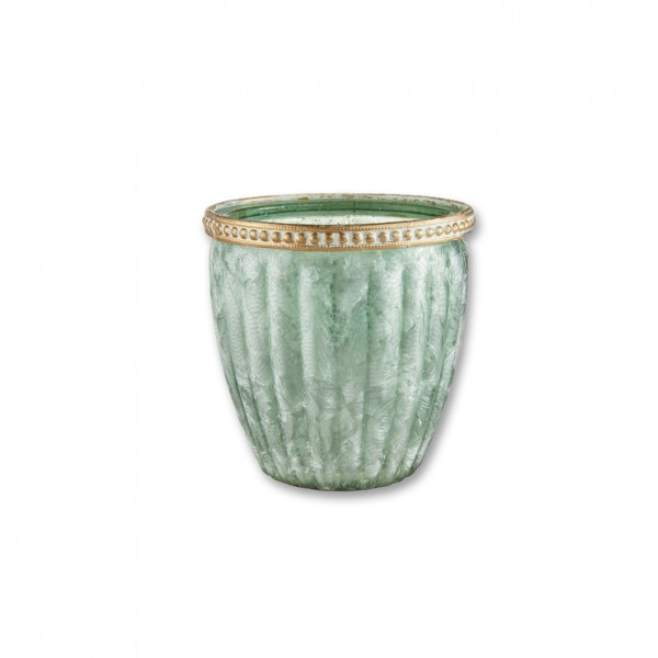 Vase Kristall grün mit Goldrand