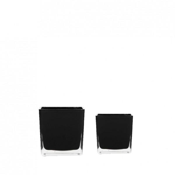Würfelvase Glas schwarz