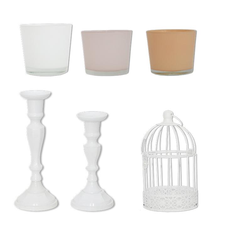 Deko Set Kerzenständer Vintage weiß