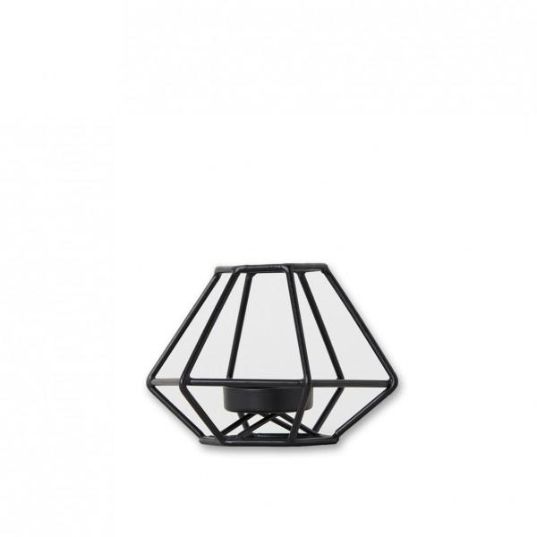 Teelichthalter geometrisch schwarz