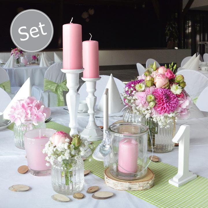 deko set kerzenst nder vintage rosa dekoanddesign mietservice. Black Bedroom Furniture Sets. Home Design Ideas