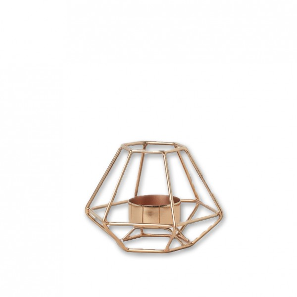 Teelichthalter geometrisch kupfer