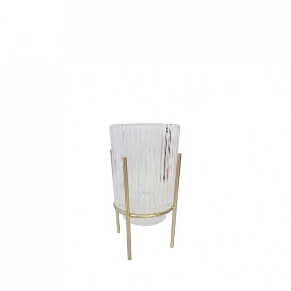 Vase Rille mit goldenem Ständer