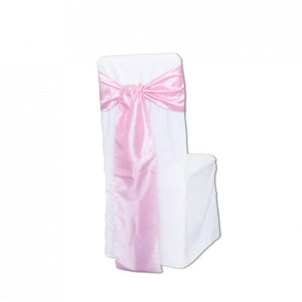 Stuhlhussen Schleifenband Taft rosa