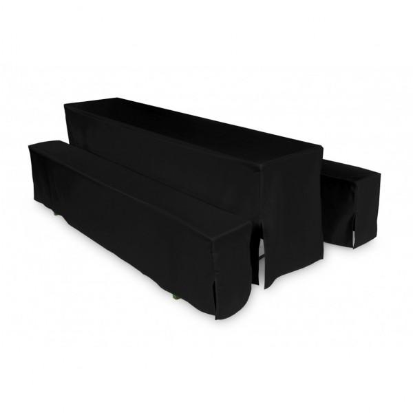Biertischhussen Set schwarz 50x220 cm