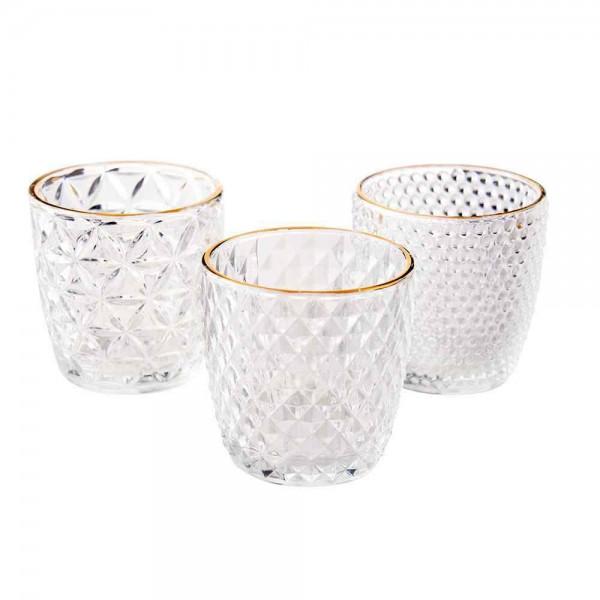 Teelichtglas mit Goldrand Raute