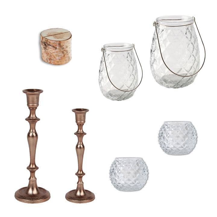 Deko Set Kerzenständer Kupfer