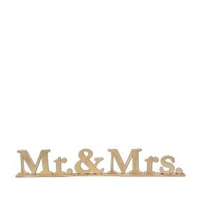 """Schriftzug """"Mr. & Mrs."""", Holz gold"""
