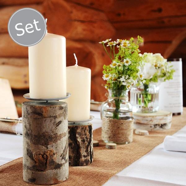 Deko Set Kerzenständer Baumstamm