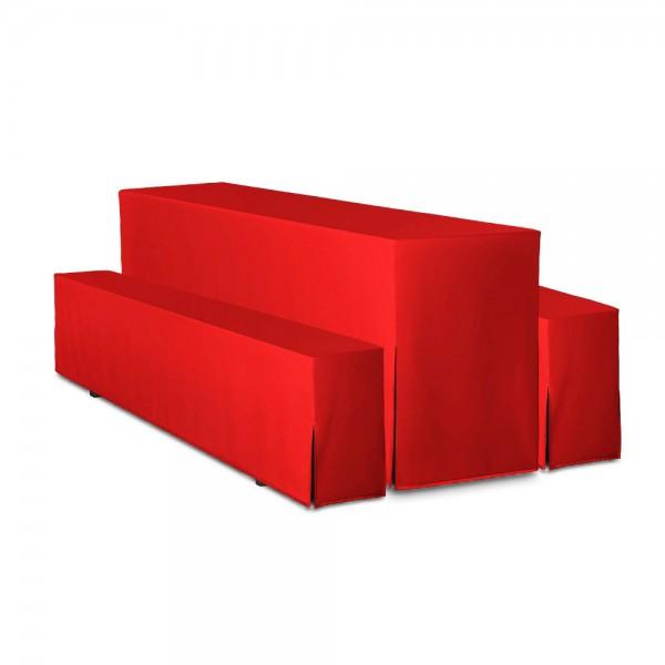 Biertischhussen Set rot 50x220 cm