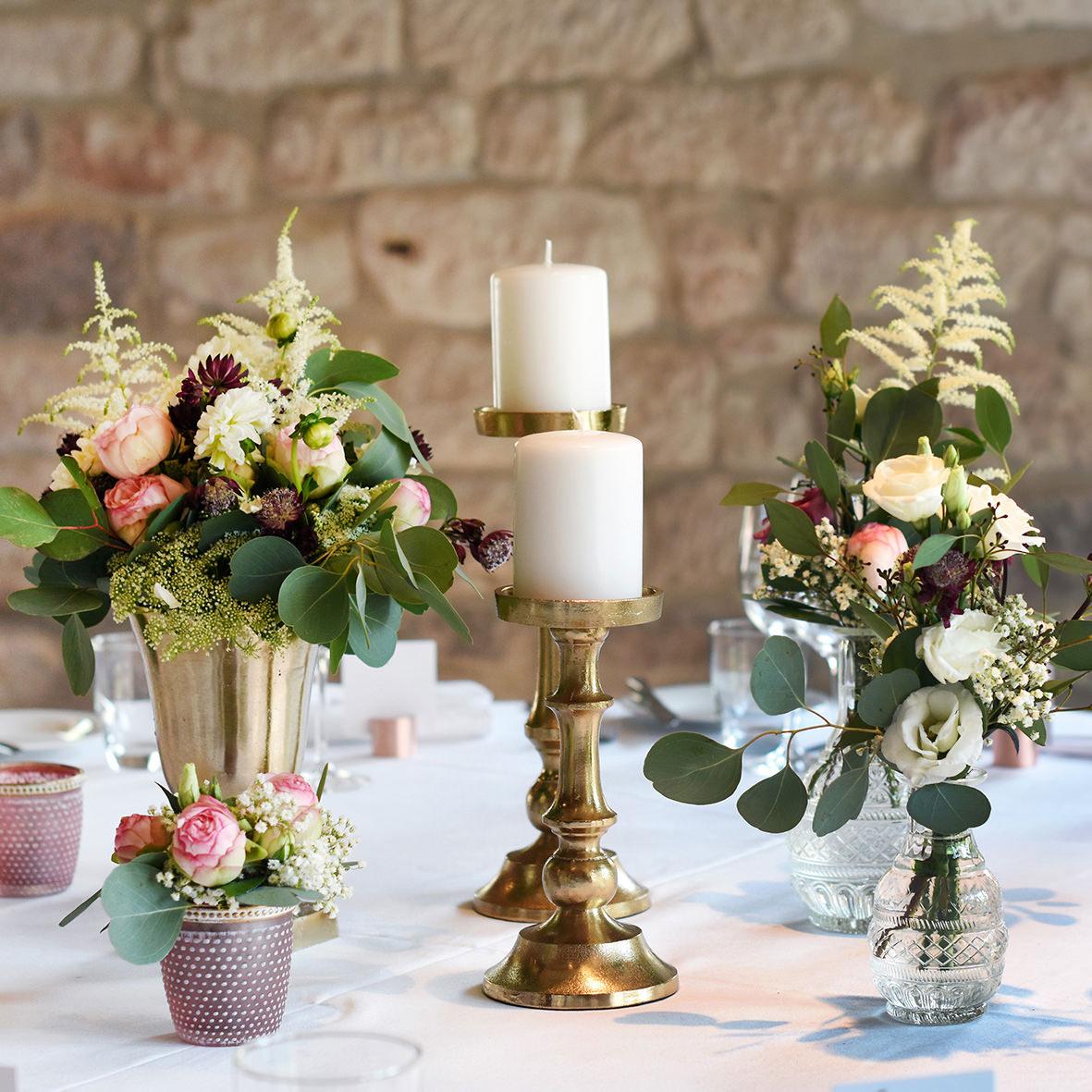 Kerzenständer 1-arm für Stumpenkerzen gold
