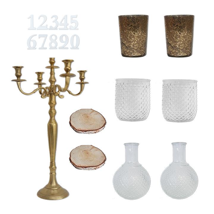 Deko Set Kerzenständer 5-arm gold