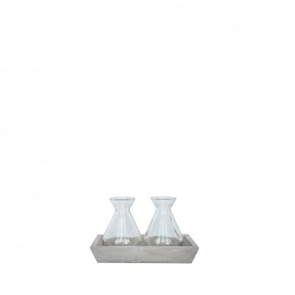 Holz-Tablet mit Vasen