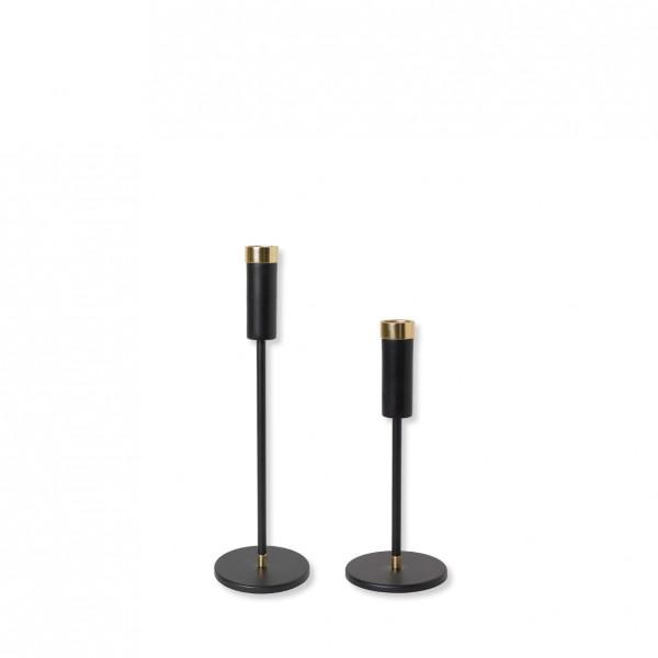 Kerzenständer 1-arm schwarz-gold